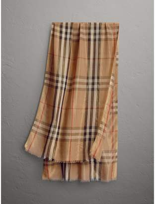 Burberry Metallic Check Silk and Wool Scarf