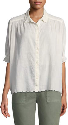 The Great Kerchief Scalloped Button-Front Top