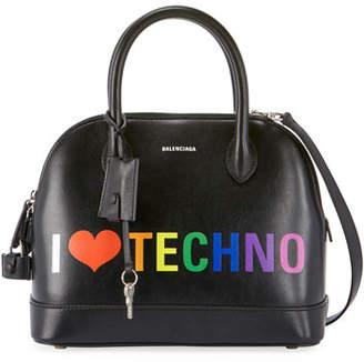"Balenciaga Ville ""I Love Techno"" Leather Top Handle Bag"