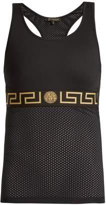 Versace Logo-print mesh-panel performance tank top