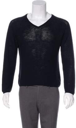 Gucci Rib Knit-Trim V-Neck Sweater