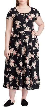 Chaps Plus Floral-Print Cotton Jersey Midi Dress
