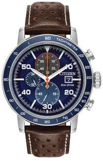 Citizen Brycen Stainless Steel and Leather-Strap Watch
