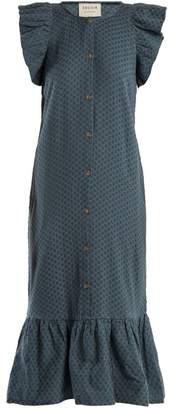 Cecilie Copenhagen - Jehro Scarf Jacquard Cotton Dress - Womens - Mid Blue