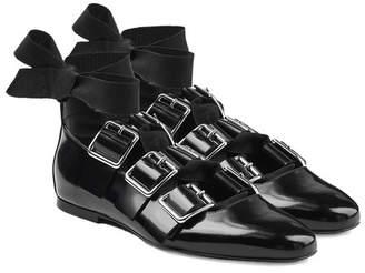 Jil Sander Buckle Strap Patent Leather Ballerinas