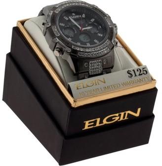 Elgin Gunmetal Men's Anadigi Watch with Crystals