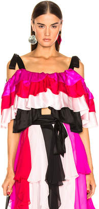 Rodarte Tiered Off the Shoulder Blouse in Multi | FWRD