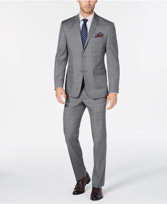 Perry Ellis Men's Portfolio Slim-Fit Stretch Light Gray Windowpane Suit