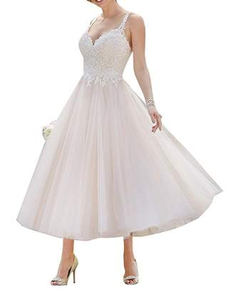 YDTQXG A-line Lace Backless Tea Length Tulle Short Bride Gown Wedding Dress -US