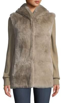 Belle Fare Knit & Fur Hooded Jacket