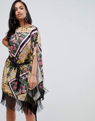 Asos DESIGN scarf print satin cape midi dress with self tie belt