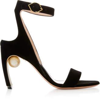 Nicholas Kirkwood Lola Pearl-Embellished Suede Sandals