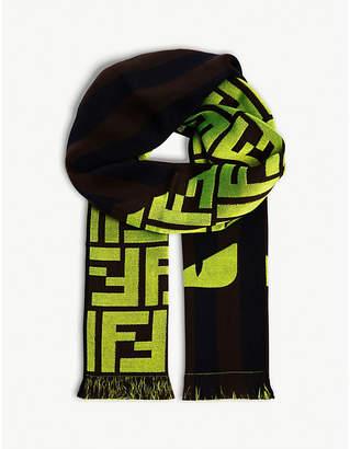 Fendi Neon logo fringed wool-blend scarf