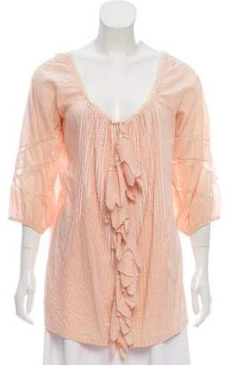 Blumarine Lace-Accented Long Sleeve Top