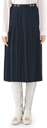 Gucci Leather-Belted Sable Wool Pleated Skirt