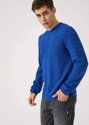 Emporio Armani Crew-Neck Sweater With Contrast Stitching Embroidered Logo