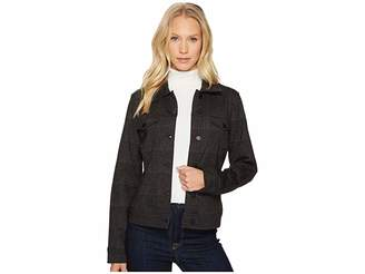 Liverpool Classic Denim Jacket in Glenn Windowpane Ponte Knit Women's Coat