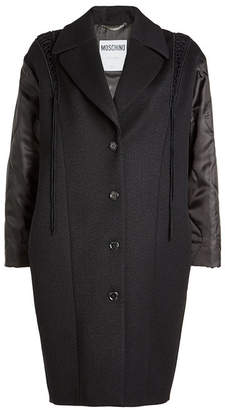 Moschino Wool Twill Coat with Fabric Sleeves