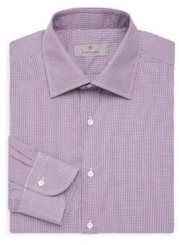 Canali Gingham Modern-Fit Cotton Dress Shirt