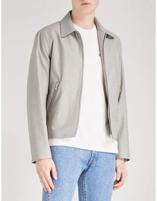 Sandro Houndstooth-pattern wool and cotton-blend jacket