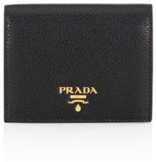 prada Prada Pebble Leather Two-Tone Bifold Wallet