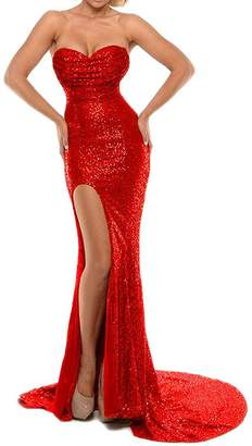 Rieshaneea Sexy Mermaid Slit Prom Dresses Long Sequins Evening Gown