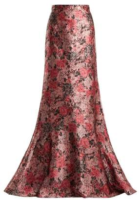 Erdem Clement Rose Jacquard Maxi Skirt - Womens - Pink Multi