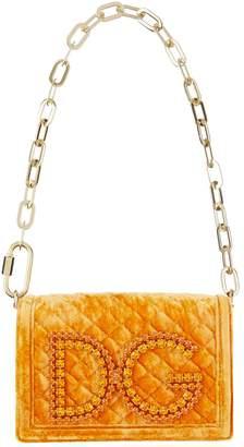 Dolce & Gabbana Girls Velvet Quilted Cross Body Bag