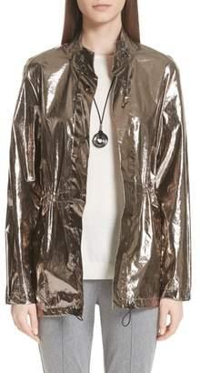 St. John Laminated Metallic Funnel Neck Jacket
