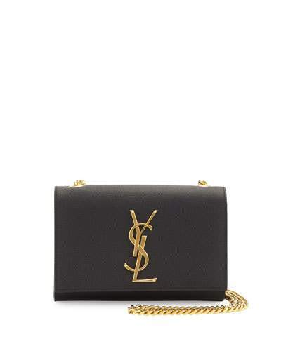 Saint Laurent Monogram Leather Crossbody Bag, Black