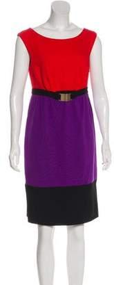 Milly Colorblock Sleeveless Knee-Length Dress