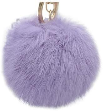 Ilishop Rabbit Fur Ball Keychain with Glod Key Ring for Car Bag Purse Charm