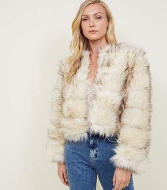 New Look Cream Pelted Faux Fur Coat