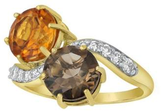 Private Label 14K Yellow Gold 3 1/2ct Smoky Quartz & Madeira Citrine with 1/4ct Diamonds Ring Size 6.5