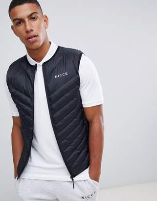 Nicce London puffer vest in black