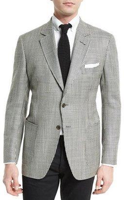 TOM FORD O'Connor Base Houndstooth Silk-Blend Sport Jacket, Black/White $3,760 thestylecure.com