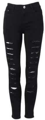 Smallrain Fashion Hole Design Women Slim Figure Pencil Pants Casual Jeans Trousers