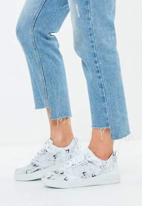 Missguided White Marble Print Lace Up Flatform Sneakers