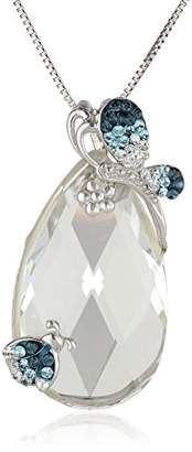 Swarovski Sterling Silver Elements Aqua Montana Crystal Pendant Necklace