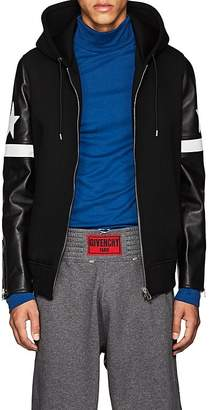 Givenchy Men's Leather-Sleeve Neoprene Hooded Jacket
