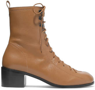 BY FAR - Bota Lace-up Leather Ankle Boots - Tan