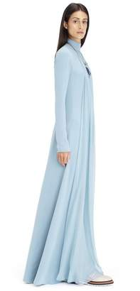 Lanvin Long Aqua Silk Georgette Dress