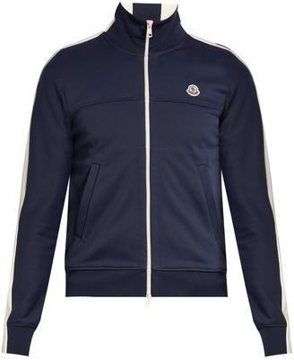 MONCLER Contrast-panel zip-up jersey sweatshirt $715 thestylecure.com