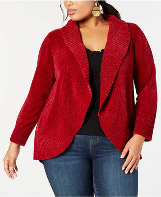 Style&Co. Style & Co Plus Size Chenille Cutaway Cardigan