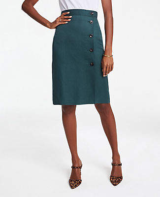 Ann Taylor Side Button A-Line Skirt