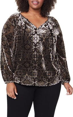 NYDJ Burnout Velvet Peasant Blouse