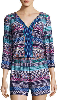 Laundry by Shelli Segal Printed Bell-Sleeves Romper, Multi Pattern