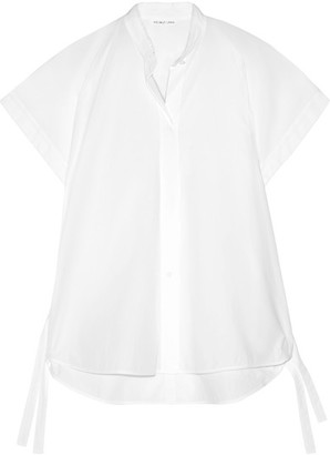 Helmut Lang - Shirred Cotton-poplin Shirt - White $320 thestylecure.com