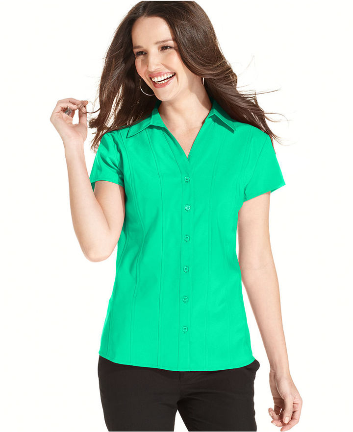 Style&Co. Top, Short-Sleeve Seamed Button-Down Shirt