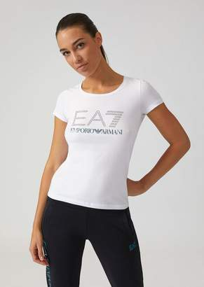 Emporio Armani Stretch Cotton T-Shirt With Ea7 Rhinestone Logo